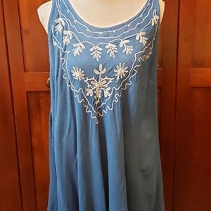 """Other - Blue """"one size"""" embroidered swim cover up."""